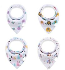 Baby Bandanna Teething Drool Bibs 4 Pack Set Boys Girls Unisex White Purple Blue