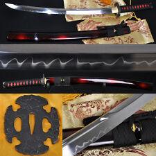1095 Clay Tempered UNOKUBI-ZUKURI Blade JAPANESE SAMURAI SWORD WAKIZASHI  SHARP