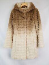 Montanac Beige Gradient Ivory White Ombre Faux Fur Coat Jacket W/ Hood Sz S