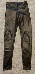 SEXY Kunstleder Glanz Highwaist Wetlook Leggings Hose schwarz Gr. 38 glänzend