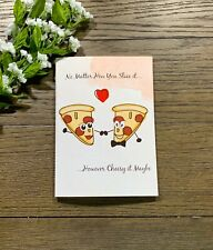 Pizza And Puns, Silly And Cheesy Happy Anniversary Handmade Greeting Card