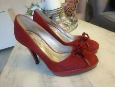Ladies Red High Heel Shoes Pony Hair Dune Leather 37 4uk