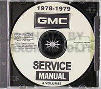 1978-1979 GMC Shop Manual Set on CD Jimmy Suburban Van Rally Pickup Truck Sierra