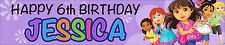 2 X DORA AND FRIENDS PERSONALISED BIRTHDAY BANNERS