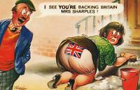 "RUDE RISQUE COMIC BAMFORTH ""BREXIT"" on FAT LADY'S PANTIES POSTCARD UNUSED"