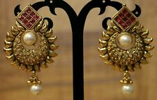 Indian Pakistani Ethnic Bollywood Gold Plate Ruby Pearl Moti Jhumki Bali Earring