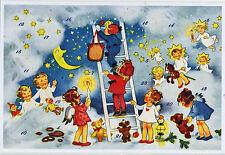 Weihnachtshimmel Glitzernde Adventskalender–Karte Fritz Baumgarten Reprint 12408