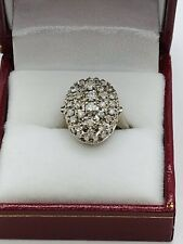 White Gold Ring W Natural Diamonds Antique Art Deco Style 14K Solid
