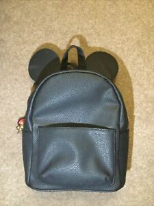 Disney Minnie/Mickey Mouse Black Backpack Bag With Ears, VGC.