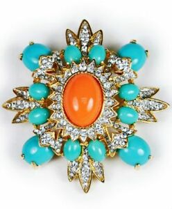 Vintage 4.20Ct Coral and Turquoise & Diamond 14K Yellow Gold Over Brooch Pin