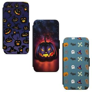 Halloween Pumpkin Pattern Print WALLET FLIP PHONE CASE COVER