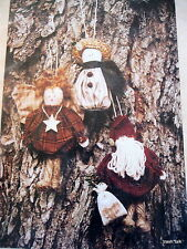 "Christmas Ornament Pattern snowman Tiny Treasures angel primitive santa 4"" 5"""
