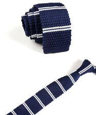 Men's Navy Blue White Stripe Tie Knit Knitted Necktie Slim Narrow Skinny ZZLD061
