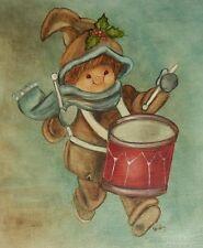LITTLE DRUMMER BOY CHRISTMAS STORY OIL PAINTING FOLK ART WINTER WHIMSY WHIMSICAL