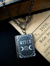 Witch Book Photo LOCKET Necklace Pendant  Pentacle Moon Magic Halloween Occult