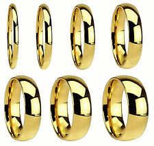 18K Gold Plated Stainless Steel Comfort Fit Ring Wedding Band Size 4 to 15 HS24