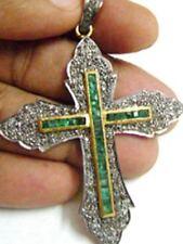 925% Sterling Silver Cross Pendant Victorian 1.70ctw Rose Cut Diamond Emerald