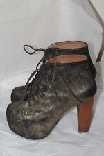 Women's Jeffrey Campbell LITA FUR leather platform booties 8