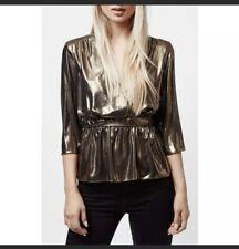 TOPSHOP Metallic Bronze Ballet Wrap Top shirt sz 8