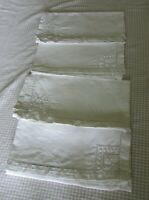 Antique French Set 4 Embroidered Ladderwork Linen Napkins Serviettes c1920s