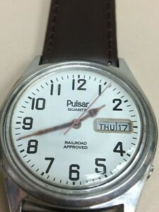 STAINLESS STEEL MEN'S PULSAR QUARTZ RAILROAD APPROVED Y513-8159