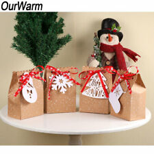 12/60x Kraft Paper Christmas Gift Bags Sweets Packaging Box Holiday Xmas Favour