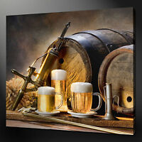 VINTAGE BEER BARRELS MODERN KITCHEN ART CANVAS PRINT READY TO HANG