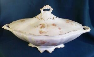Vintage East Liverpool Potteries Tureen Large with Pink Flowers and Gold Trim
