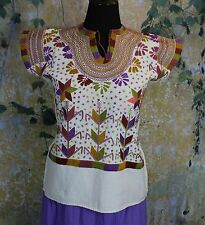 Multi-Color on Cream Corn Motif hand embroidery Huipi Blouse Mexican Hippie Boho