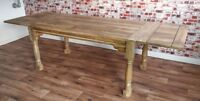Extending Hardwood Dining Table - Seats up to 12 People! Rustic Farmhouse Style