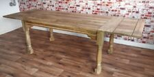 Extending Oak Style Hardwood Dining Table - Seats up to 12 Rustic Farmhouse