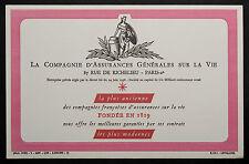 BUVARD PUBLICITAIRE ANCIEN : COMPAGNIE D'ASSURANCES GENERALES SUR LA VIE