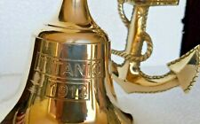 Brass Ship Bell Nautical Wall Mounted Brass Finish With Anchor Wall Decor Item