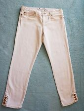 NWoT JUICY COUTURE WHITE SKINNY CROPPED JEANS SZ 29 made in America! gold button