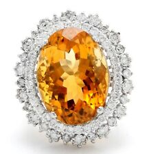 15.09 Carat Natural Madeira Citrine and Diamond in 14K Solid Yellow Gold Ring