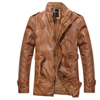 Mens Winter Fleece Lined Leather Jacket Long Coat Long Sleeve Warm Thick Outwear