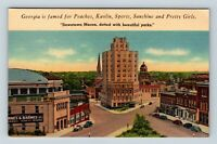 Macon GA, Downtown Street View, Church Steeple, Dome, Linen Georgia Postcard