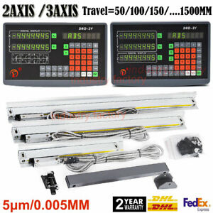 2/3Axis DRO Digital Readout Display+TTL Linear Scale 5μm CNC Mill Lathe Machine