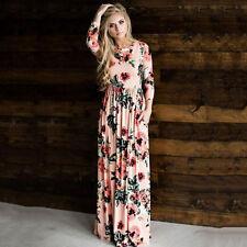 Womens Vintage Floral Off Shoulder Long Maxi Dress Summer Holiday Sundress Plus