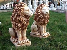 Gartenfiguren, Löwenpaar, 53 cm Steinguss, 2 Löwen, Steinfiguren, Top Gartendeko