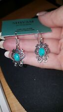Shivam Made in India .925 Sterling Silver Ornate Turquoise Earrings - New