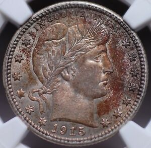 1915 D BARBER QUARTER NGC MS62 CLEAN &LUSTROUS WITH UNDENIABLY ORIGINAL SURFACES
