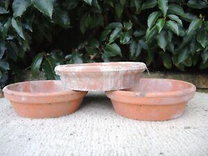 "3 Old Vintage Terracotta Plant Pot Saucers  7"" Diameter (13K)"