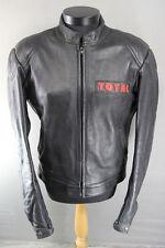 Total De Cuero Negro Chaqueta De Motorista Con Protector De Espalda Desmontable 46 pulgadas XL
