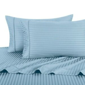 650 Thread Count Queen Size Easy Care Cotton Deep Pocket Striped Sheet Sets