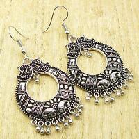 "925 Silver Overlay UNUSUAL ART Earrings 2 1/4"" ! EXTRA ORDINARY Artisan Jewelry"
