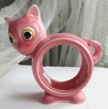 Vintage Mid-Century Modern Pink Ceramic Cat Napkin Ring Hanky Holder Japan