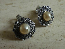 Vintage Pearl & Marcasite Clip On  Earrings