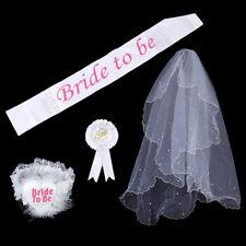 White Satin Bride to Be Tiara Sash Badge Veil Sets Hen Night Party Bachelor O
