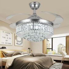 """42"""" Silver Led Invisable Ceiling Fan Lamp Crystal Lighting Remote Chandeliers"""